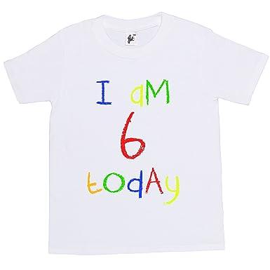 Im 6 Today Childs 6th Birthday Kids Boy Girl Cotton Short White Sleeve T