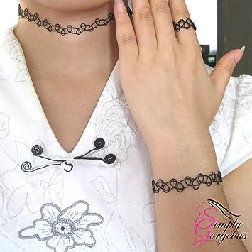 Gargantilla del tatuaje del estiramiento retro, pulsera y anillo ...