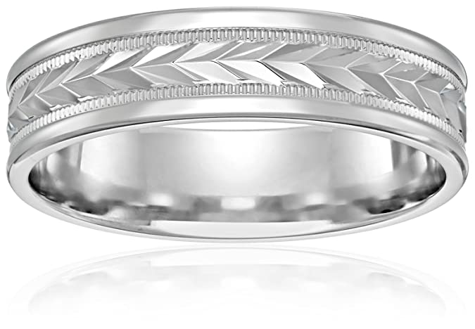 Mens 10k White Gold 6mm Comfort Fit Round Edge Plain Wedding Band With Wheat Fill Design In Center