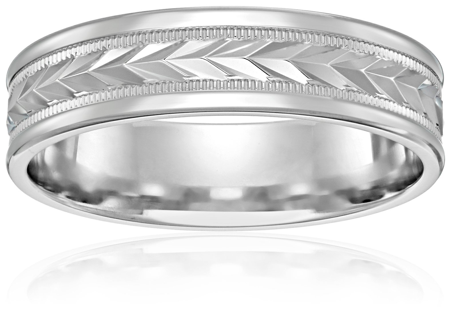 10k White Gold 6mm Comfort-Fit Wedding Band with Wheat Fill Design In Center and High Polish Round Edges, Size 9