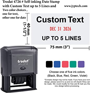 5 colours PROCESSED Rubber Stamp Self-Inking Office Stamps 4 sizes