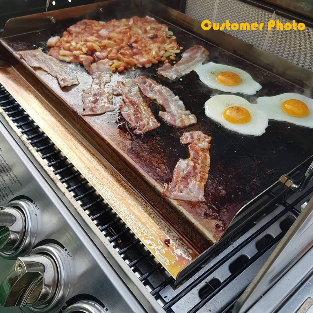 Onlyfire Universal BBQ Edelstahl Plancha Grillplatte Griddle f/ür Holzkohle Grillwagen Gasgrill und mehr Rechteckig, B H 7cm T 51x 32 x