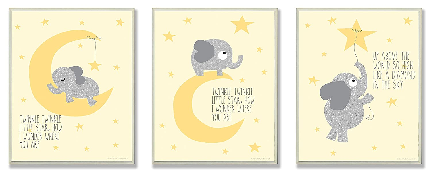The Kids Room by Stupell Twinkle Twinkle Little Star Grey Elephant On Yellow 3-Pc. Rectangle Wall Plaque Set, 11 x 0.5 x 15, Proudly Made in USA brp-1570 trio
