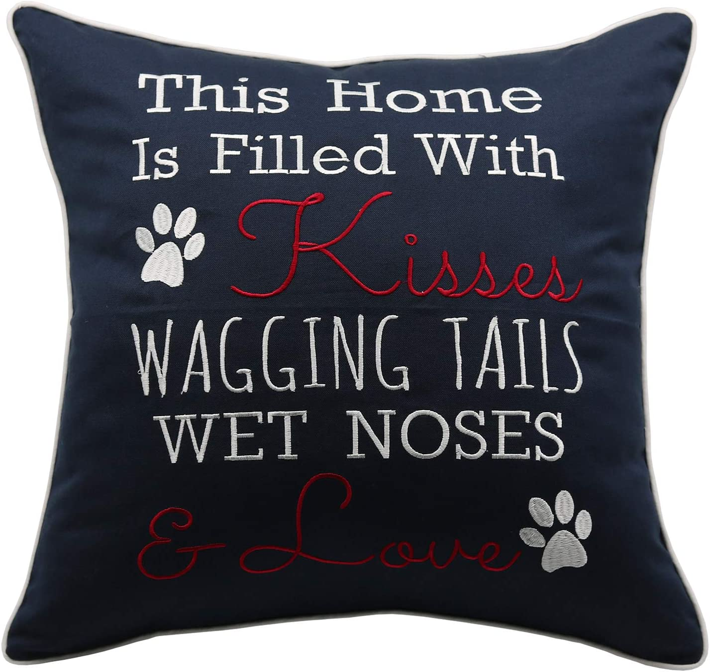 YugTex This Home is Filled with Kisses Embroidered Square Accent Throw Pillow Cover - 18