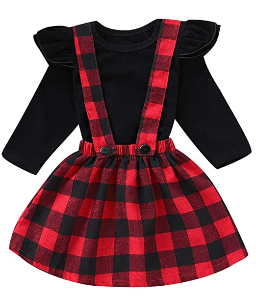 108a9993f1d Amazon.com  Toddler Girls Outfit Set Baby Plaid Ruffles Tops and ...