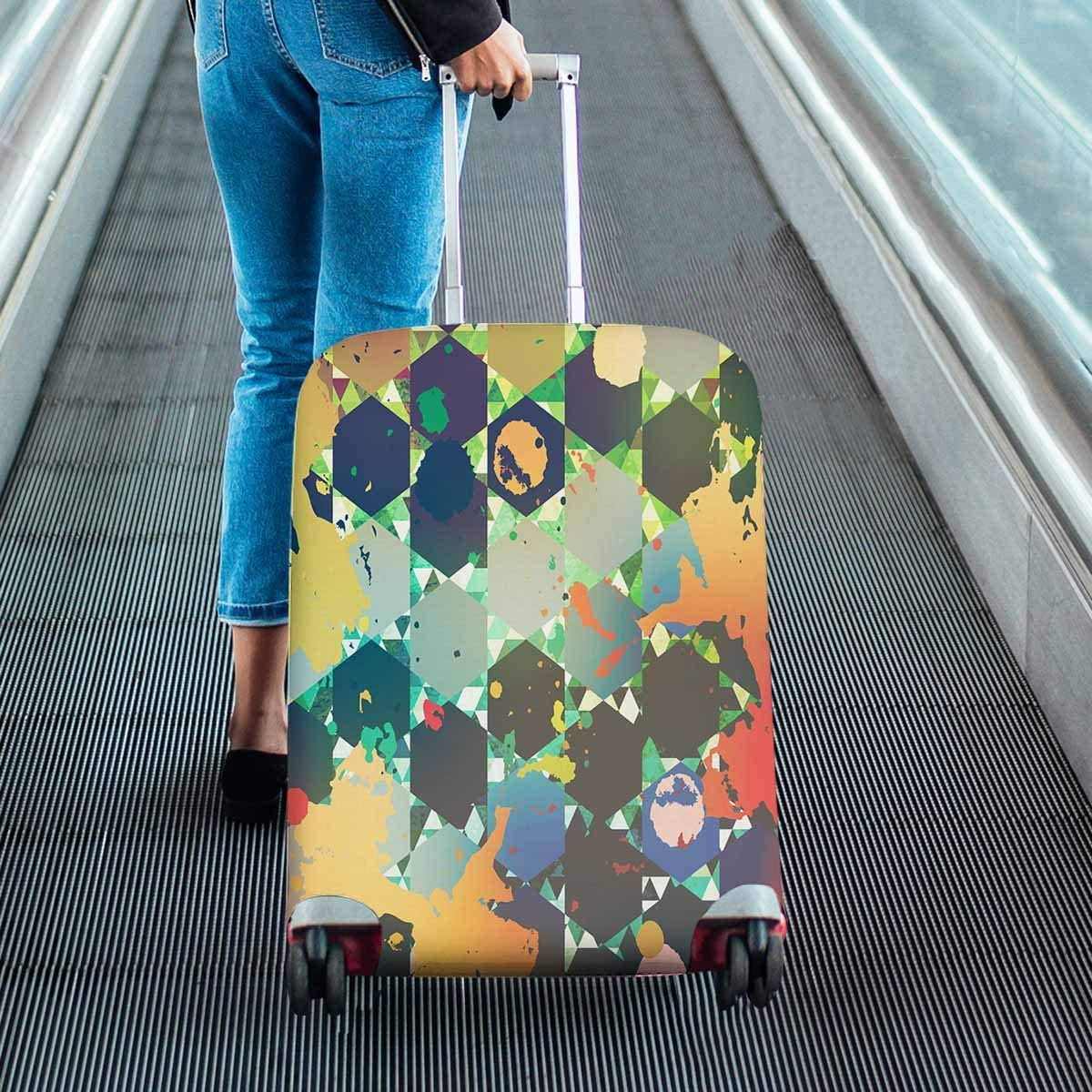 INTERESTPRINT Travel Luggage Protector Suitcase Covers Fit 18-28 Inch Psychedelic Triangle