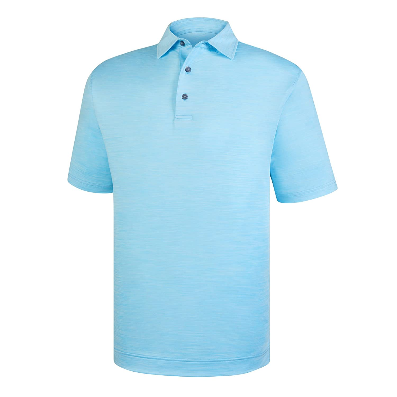 メンズFootjoy Lisle Space Dyed Self Collarシャツ B07C83QWH4 Large|ライトブルー ライトブルー Large