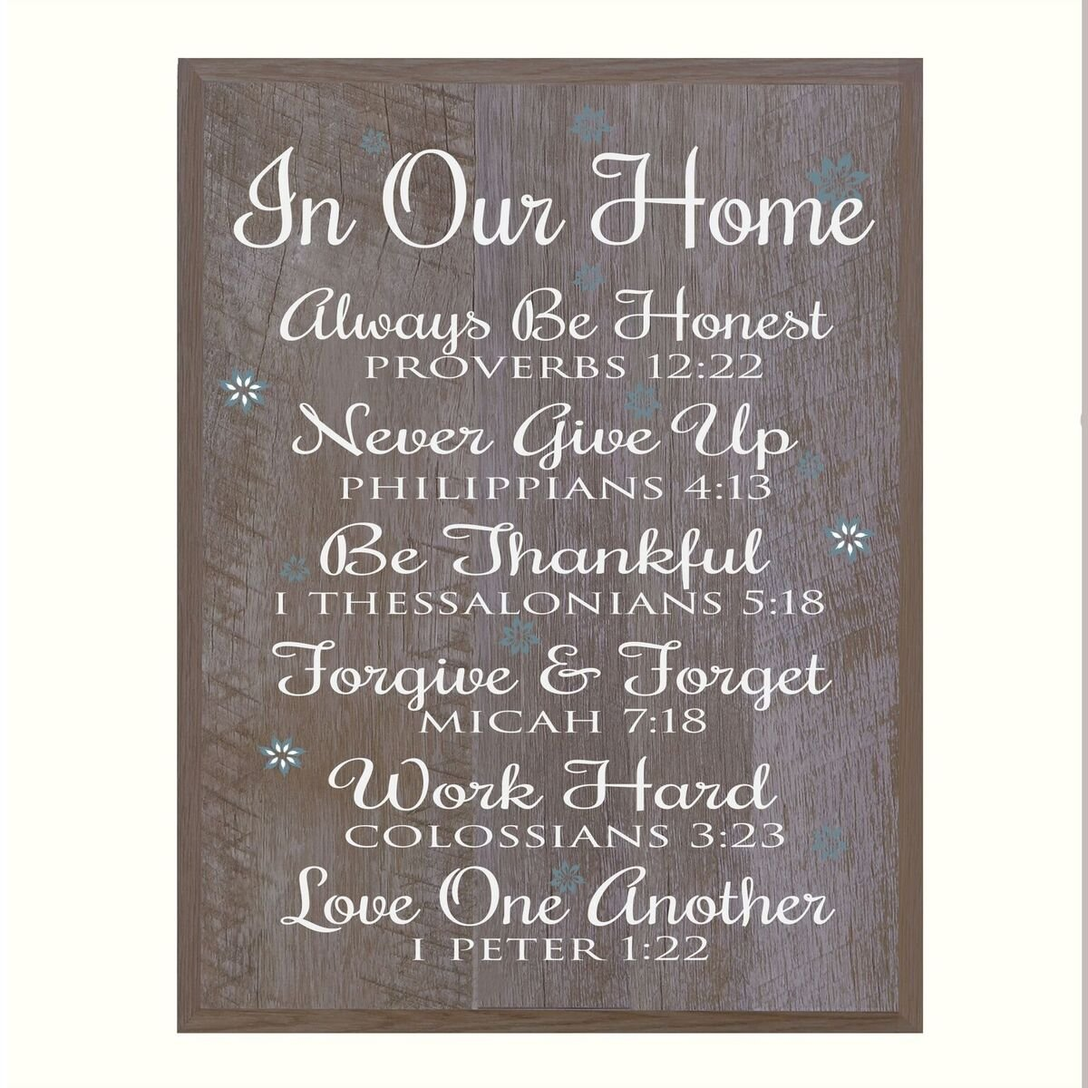 In Our Home Family wedding anniversary Housewarming Gift for husband wife Parents, New Home Christian gift ideas 12 Inches w X 15 Inches By LifeSong Milestones (Barnwood)