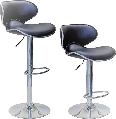 ViscoLogic Series Oasis Height Adjustable Swivel Leatherette Saddle Bar Stool Set of 2 Stools Gray Grey