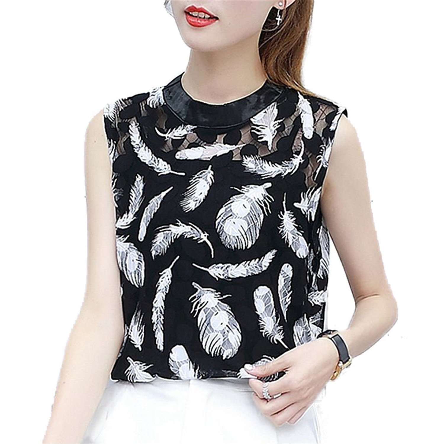 OUXIANGJU Summer Women Feather Print Shirts Black Lace Tops Sleeveless Beading Zipper Blouse at Amazon Womens Clothing store: