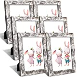 ZIRANLING 4X6 Picture Frame Wood Rustic Distressed White Set with High Definition Glass for Table Top and Wall Mounting…