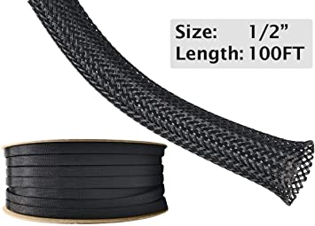 Black Braided Expandable Flex Sleeve PET Expandable Sleeve Loom Flexable Cover