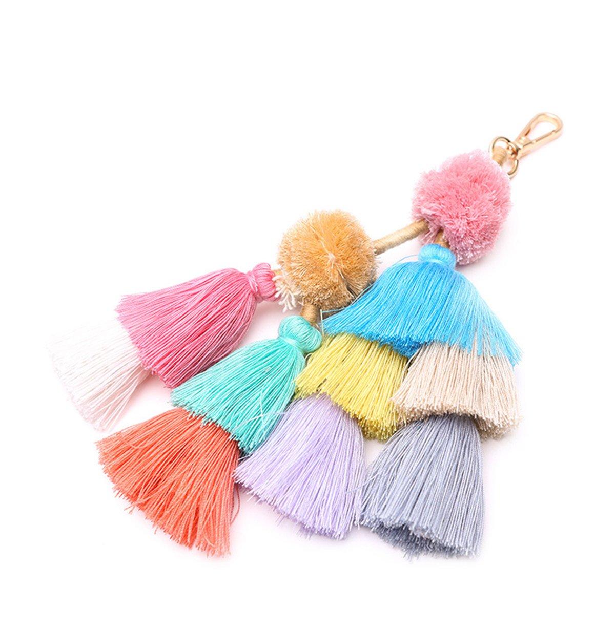 ZOONAI Women Colorful Tassel Charm Keychain Car Keyring Holder Handbag Bag Purse Pendant (C)