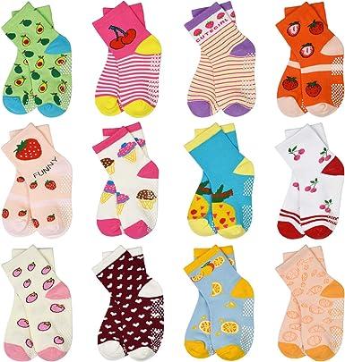 Toddler Socks SkiBeaut 12 Pairs Non Slip Skid Socks For Kids Girls Grips Cotton Crew Socks For 1-3/3-5 /5-7Years Old