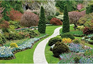LFEEY 10x8ft Vinyl Spring Scenery Park Garden Backdrops for Photoshoot Flower Trees Green Meadow Path Photography Background Party Decoration Portrait Wallpaper Banner Decor Photo Booth Studio Props
