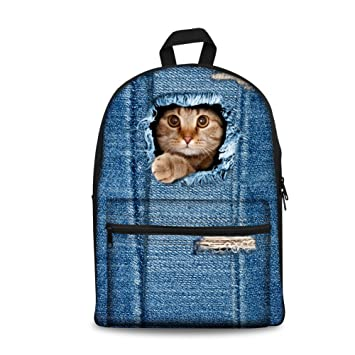 115532fbee93 Coloranimal 2017 Fashion Designer Canvas Backpacks for Girls Kids Cat  School Bags