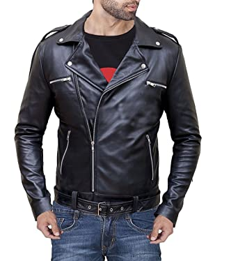 aa0d1a8d1 Finest Collections Men Black Biker Real Leather Jacket