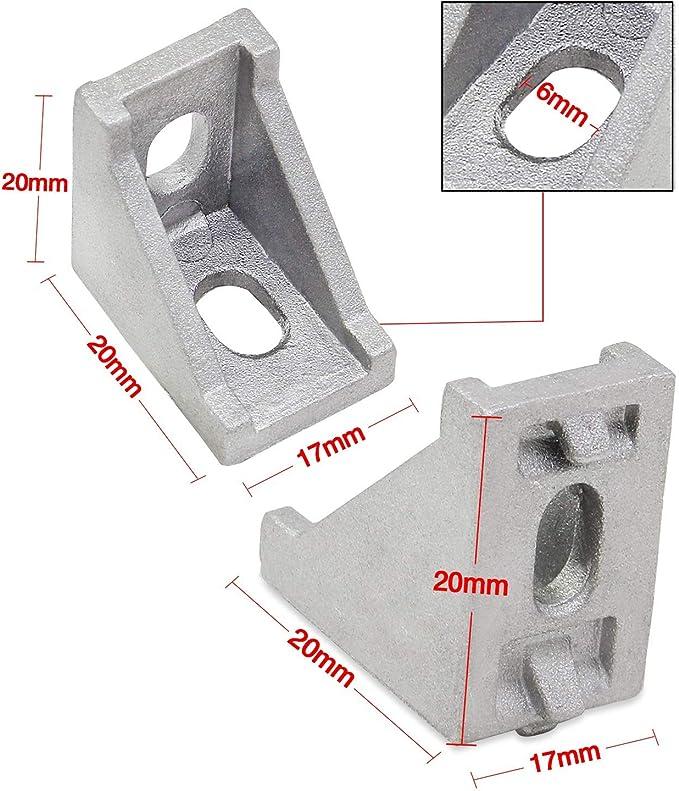 Ctzrzyt 3 V/ías de soporte de esquina para ranura en T de aluminio 2020 4 unidades con tornillos