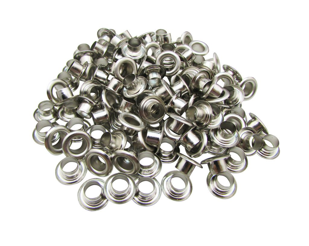 Amanaote 5mm Internal Hole Diameter Silvery Eyelets Grommets with Washer Self Backing Pack of 150 Sets