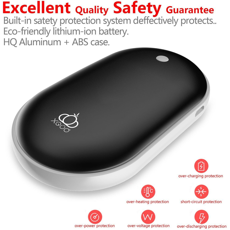 Samsung-Galaxie und mehr Schwarzes XGUO Zuverl/ässiger nachladbarer Handw/ärmer 5200mAh bewegliche USB-Aufladeeinheits-Energien-Bank f/ür iPhone