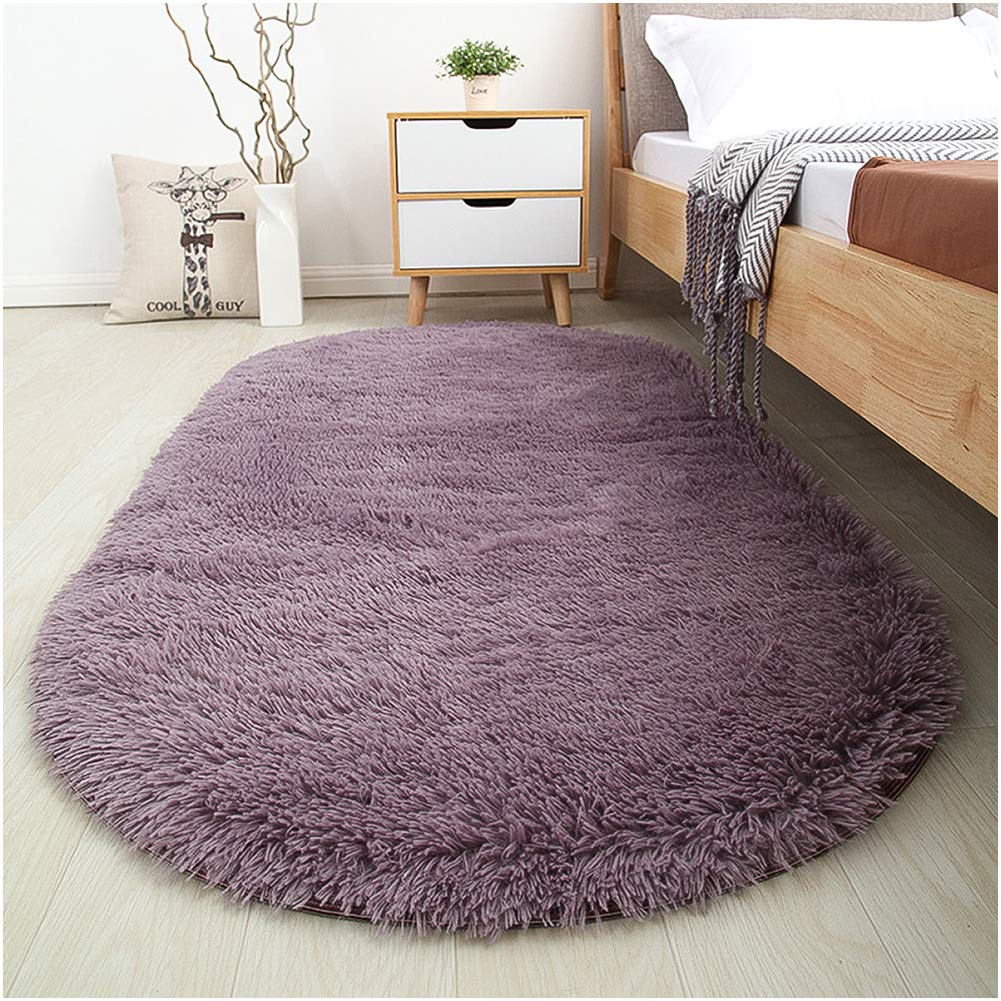 Softlife Fluffy Area Rugs for Bedroom 2.6' x 5.3' Oval Shaggy Floor Carpet Cute Rug for Girls Kids Room Living Room Home Decor, Grey-Purple