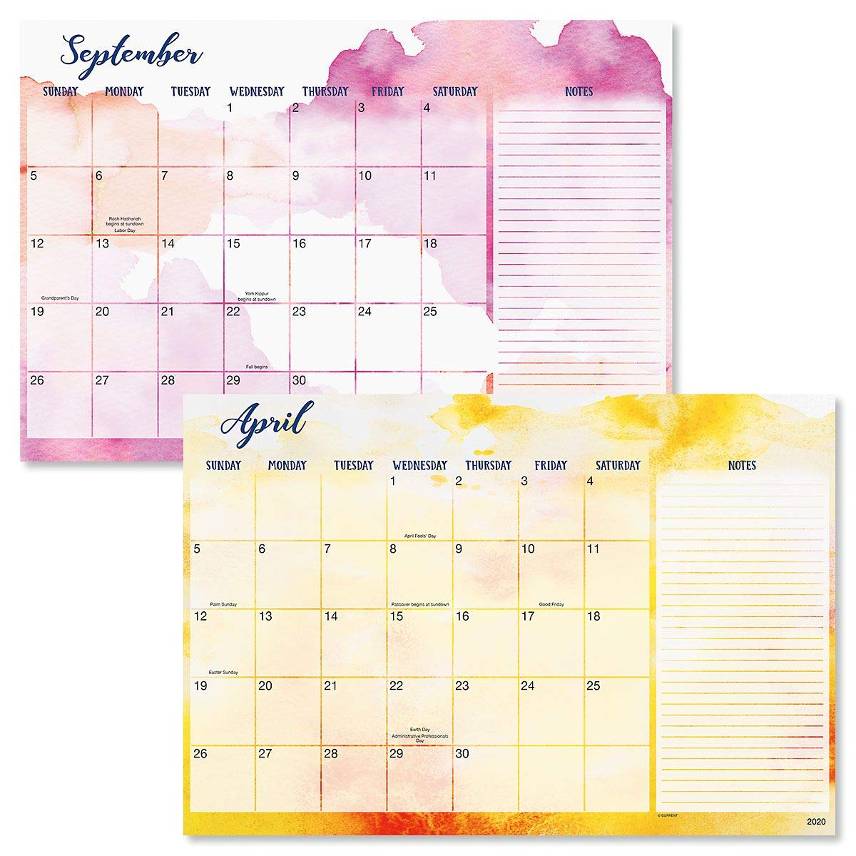 2020-2021 Brush Strokes Calendar Pad - 11'' x 16-1/4'', Includes Magnets, Runs from January 2020 to December 2021 by Current