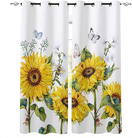 Yun Nist Watercolor Yellow Floral Butterflies Window Curtain Panel
