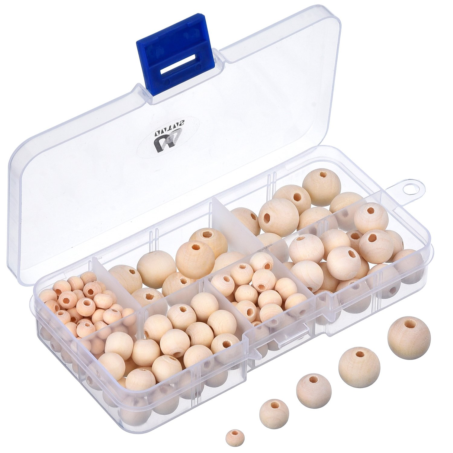 150 Pieces Natural Round Wood Beads Set with Box for DIY Jewelry Making, 5 Sizes (6 mm/ 8 mm/ 10 mm/ 12 mm/ 14 mm) Outus