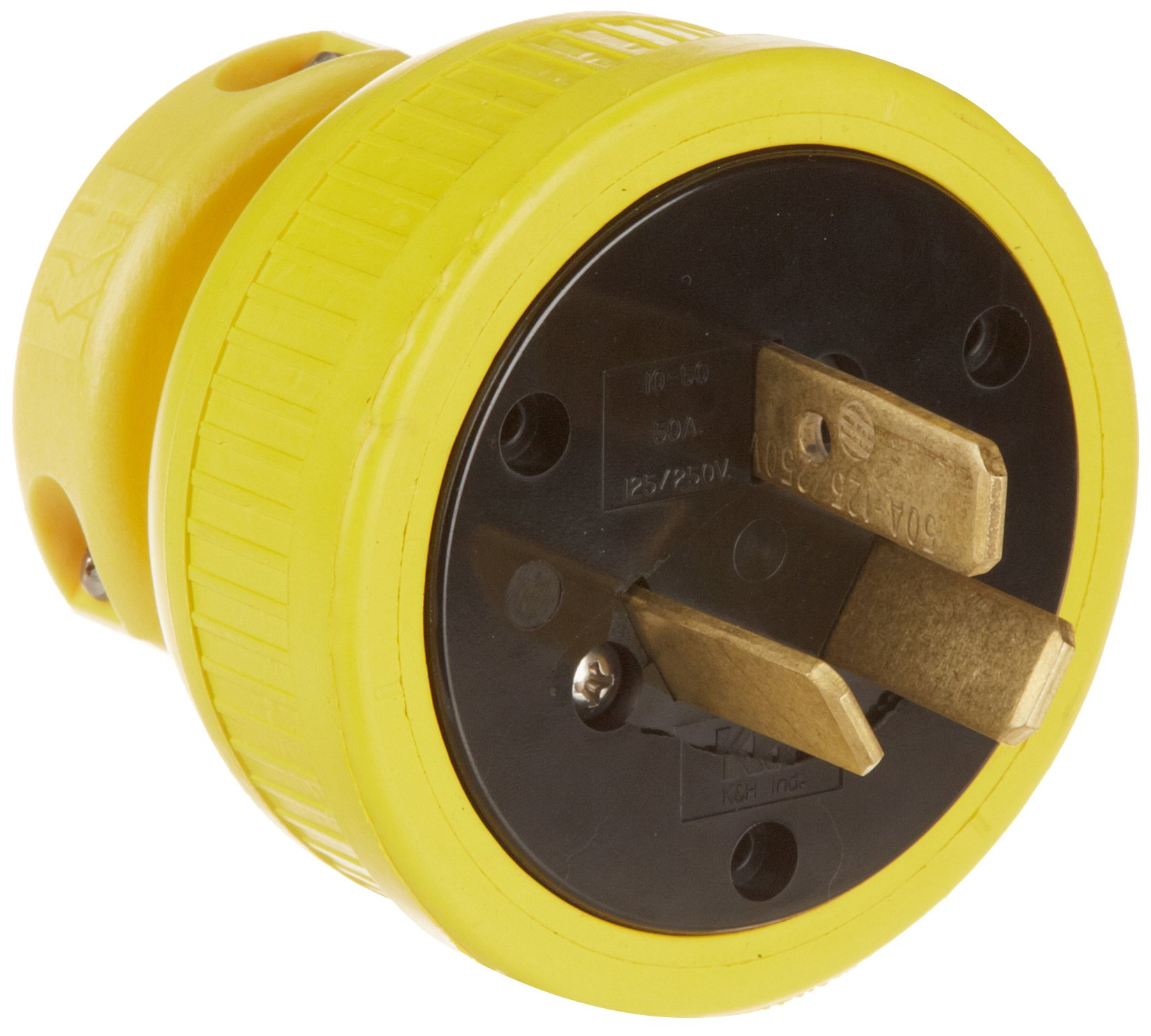 KH Industries P1050DF Rubber/Polycarbonate Rewireable Flip Seal Straight Blade Plug, 3 Pole/3 Wire, 50 amps, 125-250V AC, Yellow