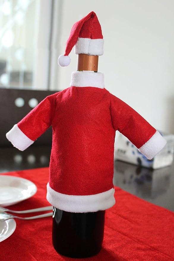 Santa Traje Abrigo Sombrero Envoltura Cubierta Bolsa para Botella Vino Decoración Regalo Navidad