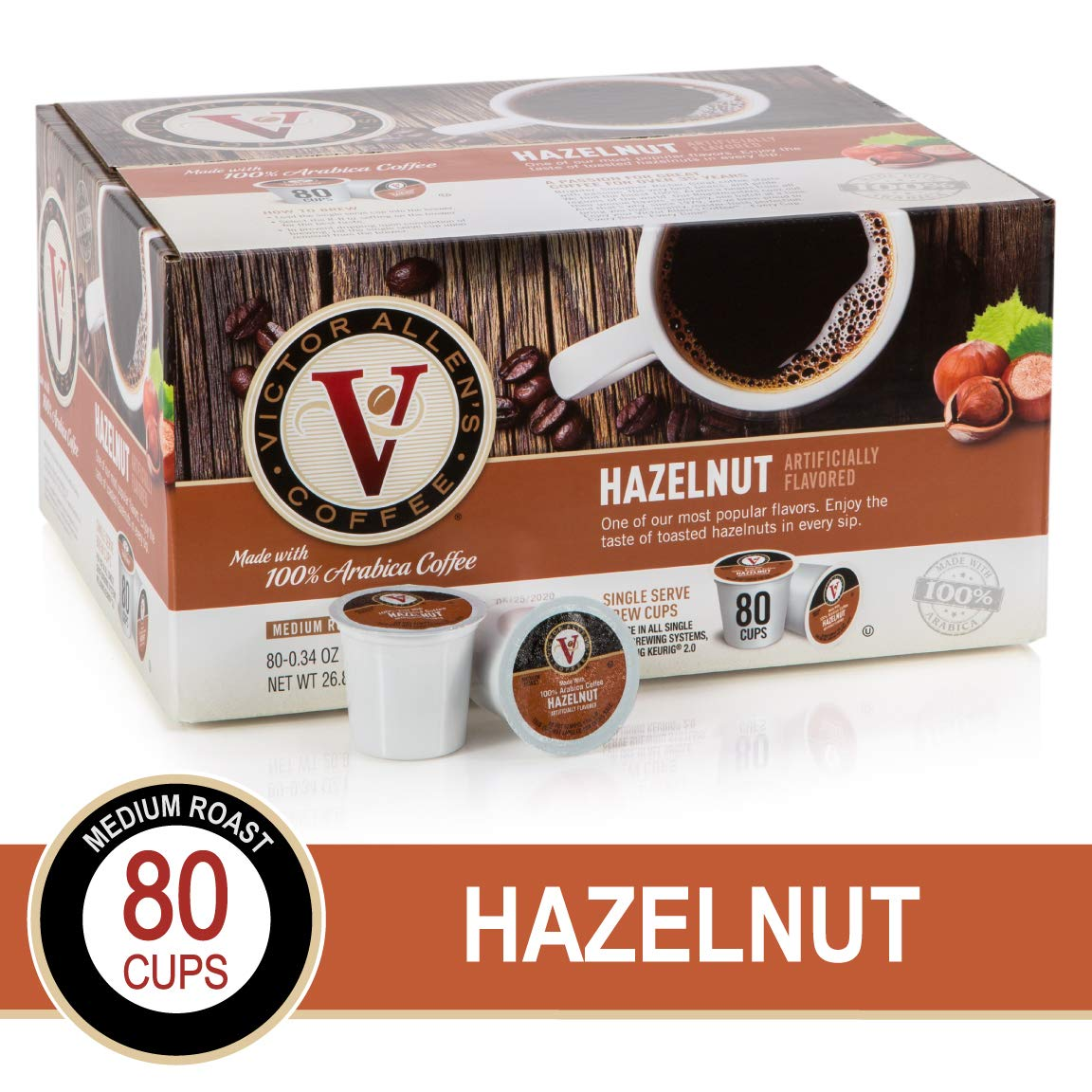 Hazelnut for K-Cup Keurig 2.0 Brewers, 80 Count, Victor Allen's Coffee Medium Roast Single Serve Coffee Pods