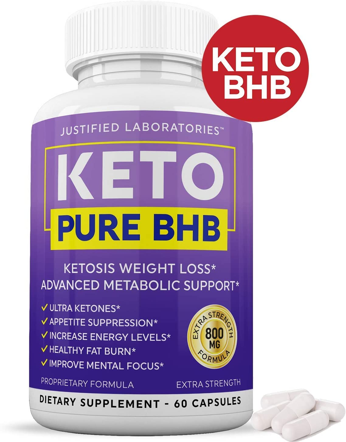 Keto Pure BHB Pills Advanced BHB Ketogenic Supplement Real Exogenous Ketones Ketosis for Men Women 60 Capsules 1 Bottle