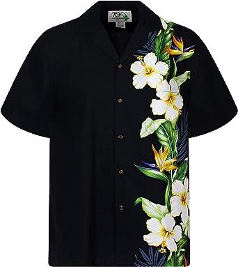 KYs | Original Camisa Hawaiana | Caballeros | S - 4XL | Manga Corta | Bolsillo Delantero | Estampado Hawaiano | Flores | Negro: Amazon.es: Ropa y accesorios