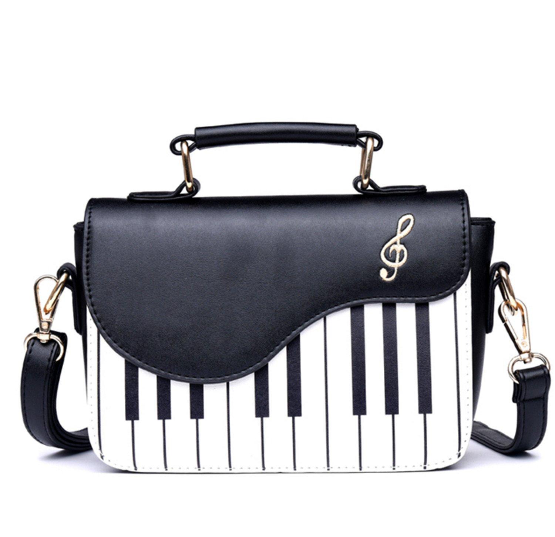 Skyseen Piano Music Notes PU Leather Shoulder Tote Bag Purse Crossbody Handbag for Women Girls