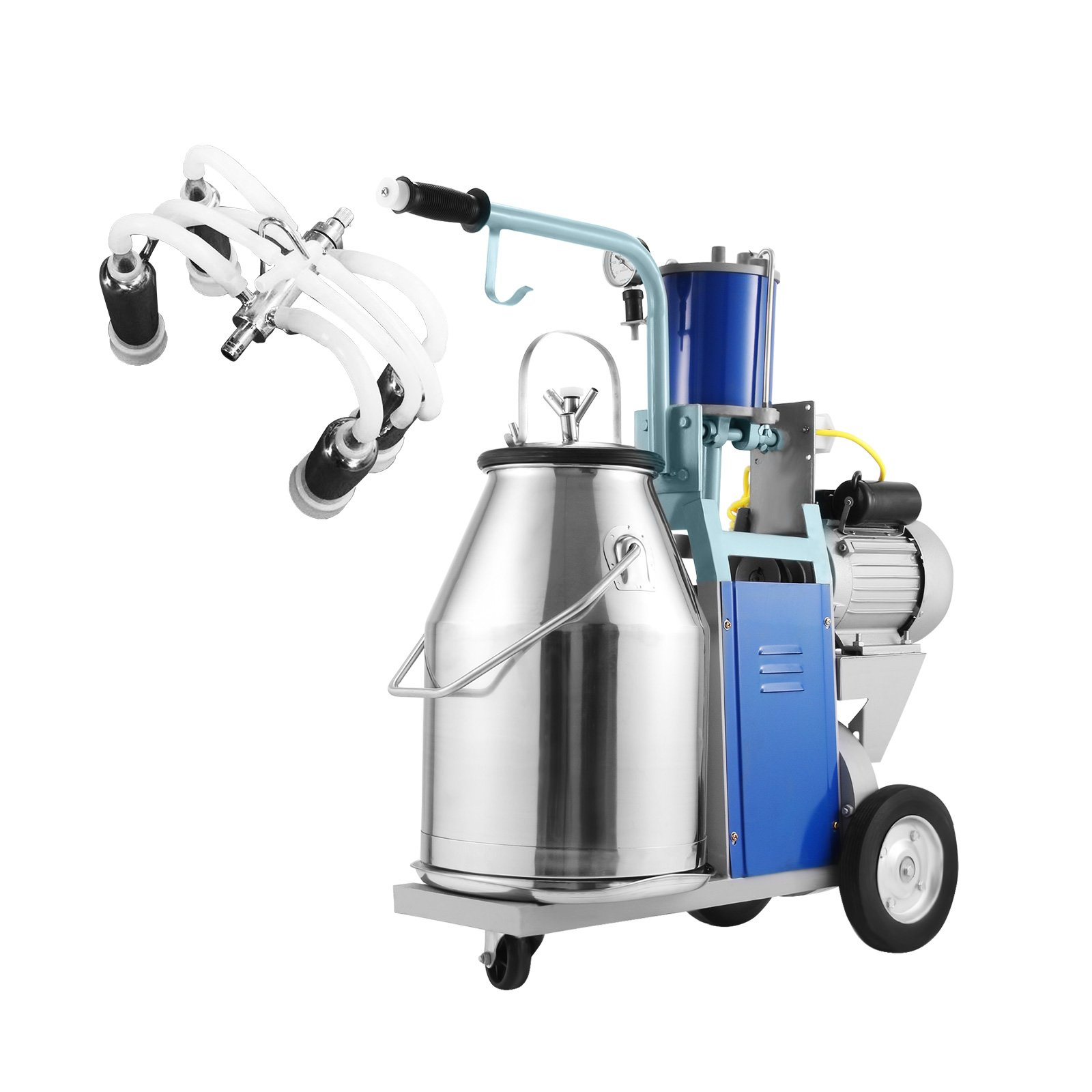 Happybuy Electric Milking Machine 25L Single Bucket Milking Machine 1440 RMP Piston Milking Machine for Cows or Sheep 304 Stainless Steel Bucket