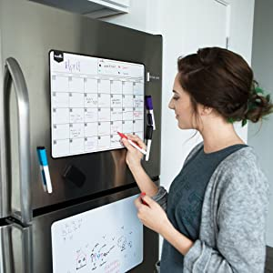 Magnetic Dry Erase Calendar for Fridge: with Stain Resistant Technology - Two Sizes - 4 Fine Tip Markers and Large Eraser with Magnets- Monthly Whiteboard for Refrigerator Wall: White Board Desk Base