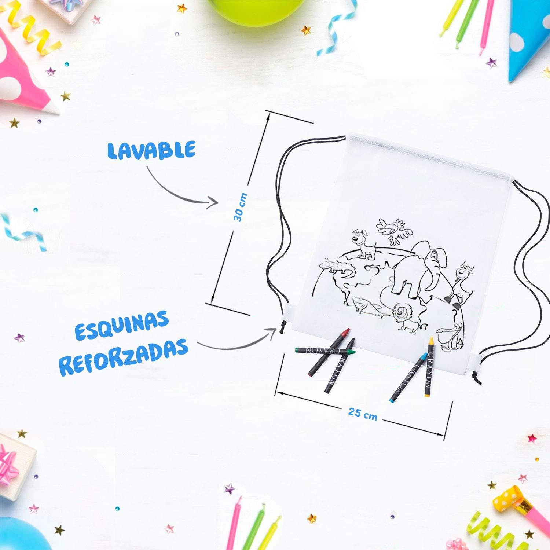Mega Pack de 30 Mochilas para Pintar con Ceras Incluye Regalos Extra para Divertido Concurso-Diversi/ón Asegurada Fiestas Infantiles en el Colegio y Comuniones Original Regalo para Cumplea/ños