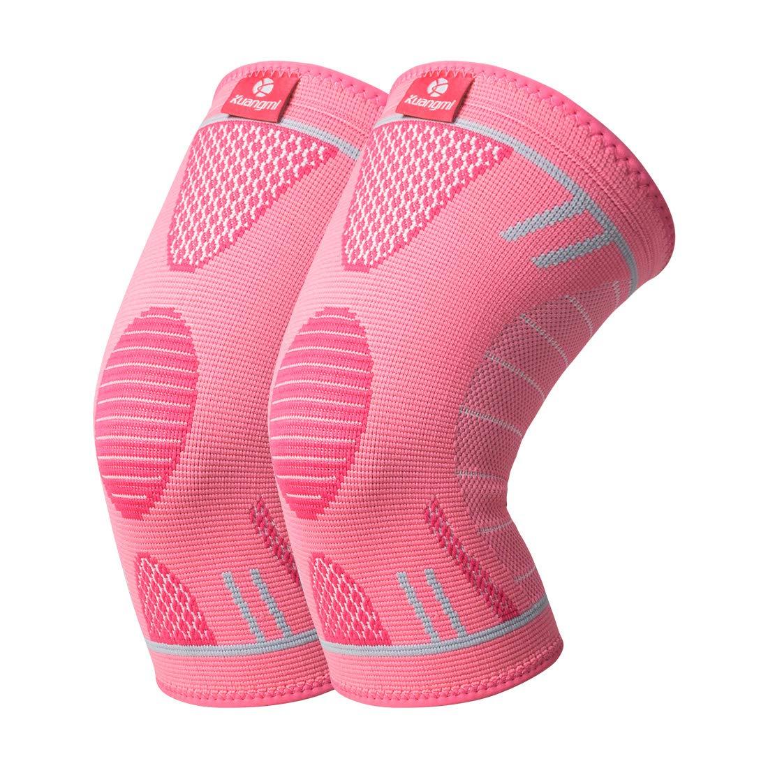 スポーツ膝圧縮スリーブブレース ランニングサポート用 ジョギング - レッグスリーブ - ふくらはぎ用ソックス - 関節炎の緩和 怪我のリハバリに B07P668ZTD Advanced Pink (Pair) Medium (Pack of 2)