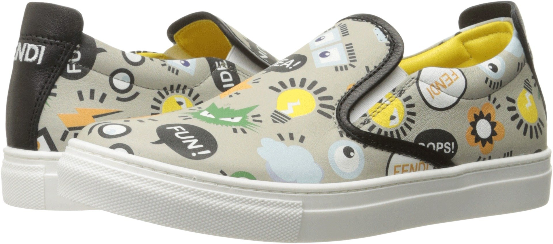 Fendi Kids Boy's All Over Print Slip-On Sneakers (Big Kid) Grey Loafer by Fendi Kids