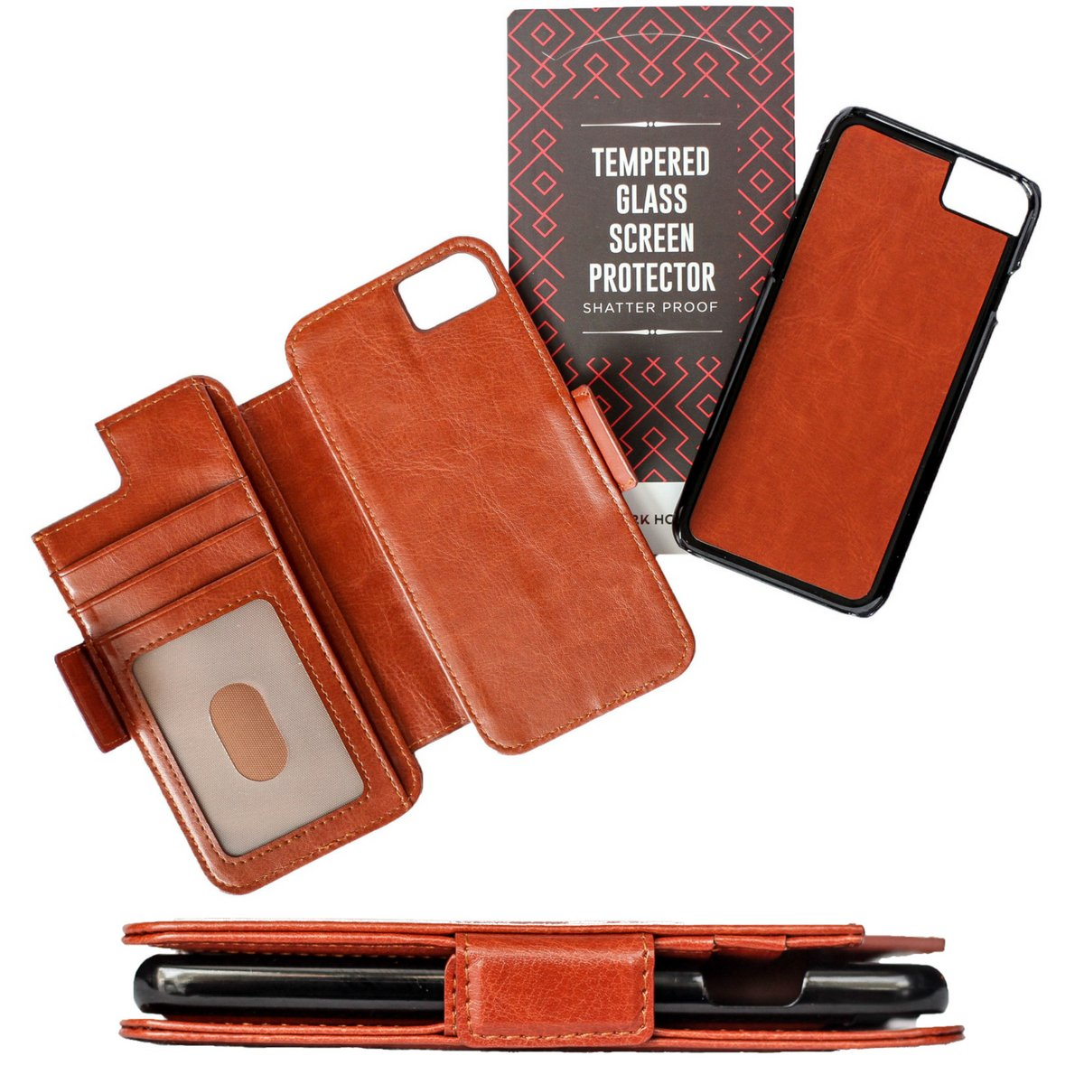 Dark Horse Travel Thru View 7+ Wallet Case - Compatible with iPhone 7 Plus - Luxury Vegan Leather & Detachable Magnetic Shell | RFID Protection - Brown
