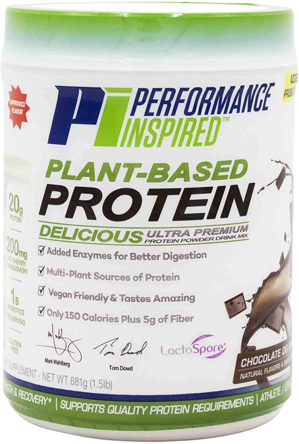 Performance Inspired Nutrition Plant Protein Powder - All Natural - 20G - 1B Probiotics - Digestive Enzymes - Fiber Packed - G Free - Chocolate Delight - 1.5lb
