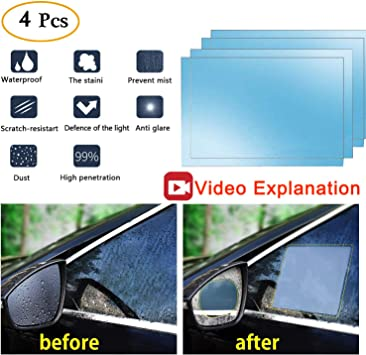 Car Rearview Mirror Protective Film,Anti-Fog Waterproof Film HD Car Rearview Mirror Decal Rainproof Anti-Glare Anti-Scratch Clear Protective Film For Car Rearview Side Mirror Glass-Pack Of 2PCS