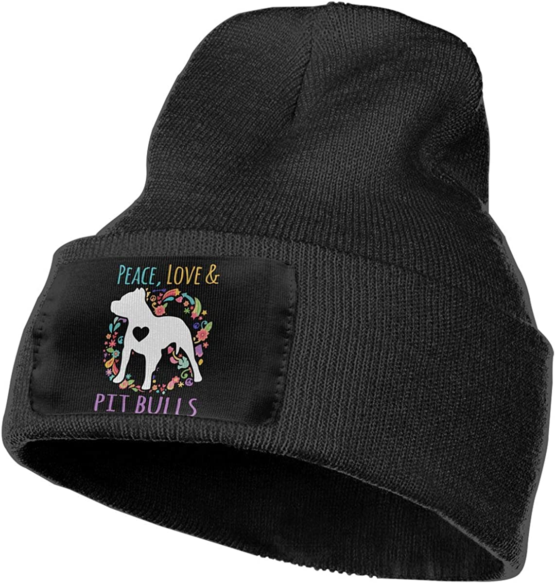 Peace Love and Pit Bulls Warm Skull Cap Mens Womens 100/% Acrylic Knitted Hat Cap