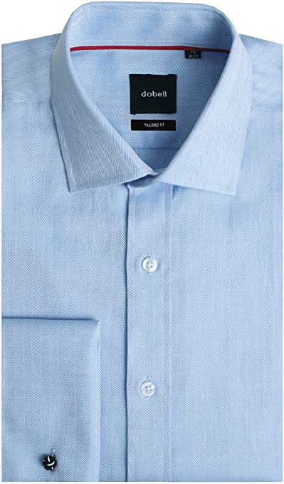 Camisa Azul Claro de Espiga Entallada Ajustada con puño Doble ...