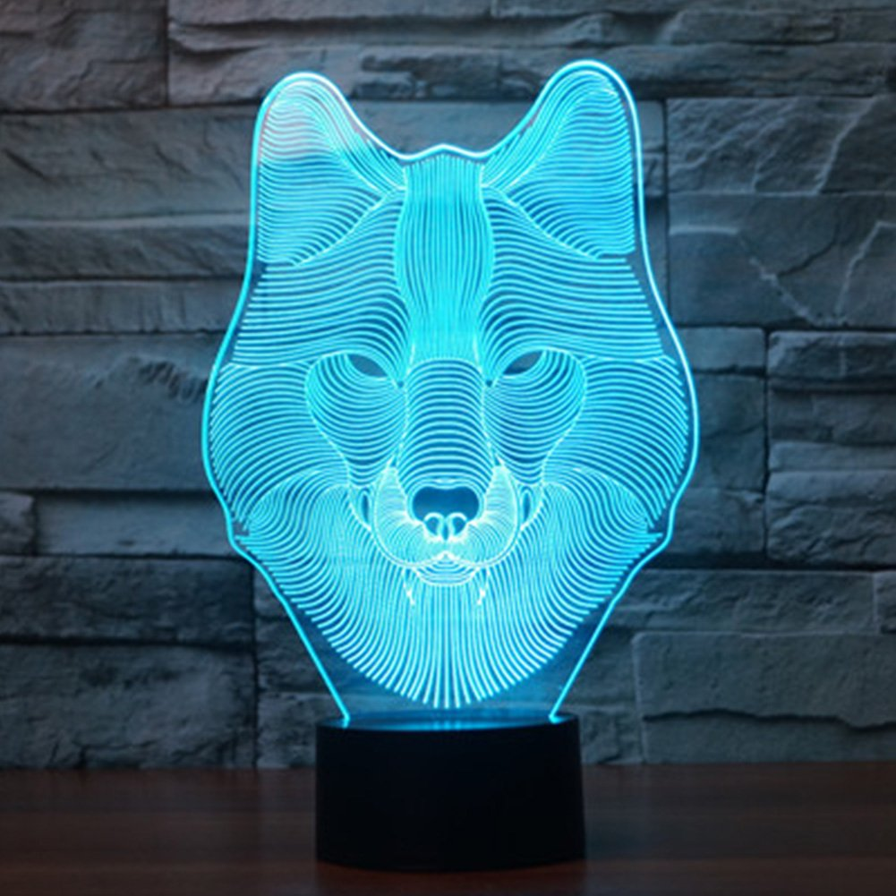 3D Wolf Lamp, YKL WORLD Wolf Night Light, Led Optical Illusion Table Beside Lamps, USB Touch 7 Color Changing Mood Lighting Bedroom Decor Toys Gifts for Kids Boys Girls Father Wolves Lover