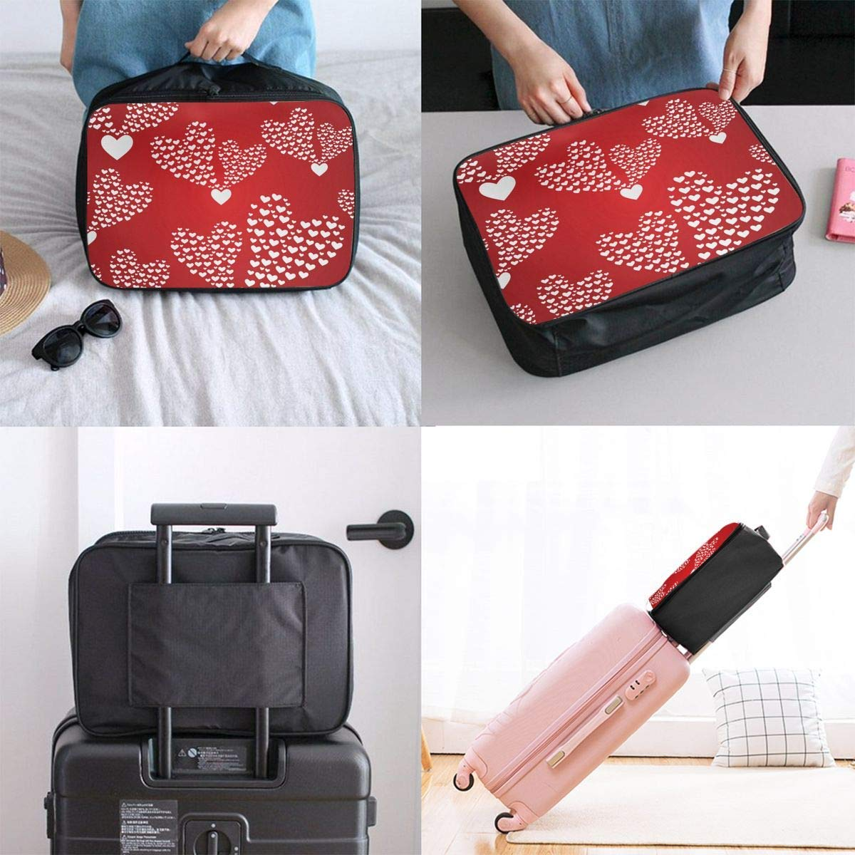 Love Heart Patterns Travel Lightweight Waterproof Foldable Storage Carry Luggage Duffle Tote Bag JTRVW Luggage Bags for Travel