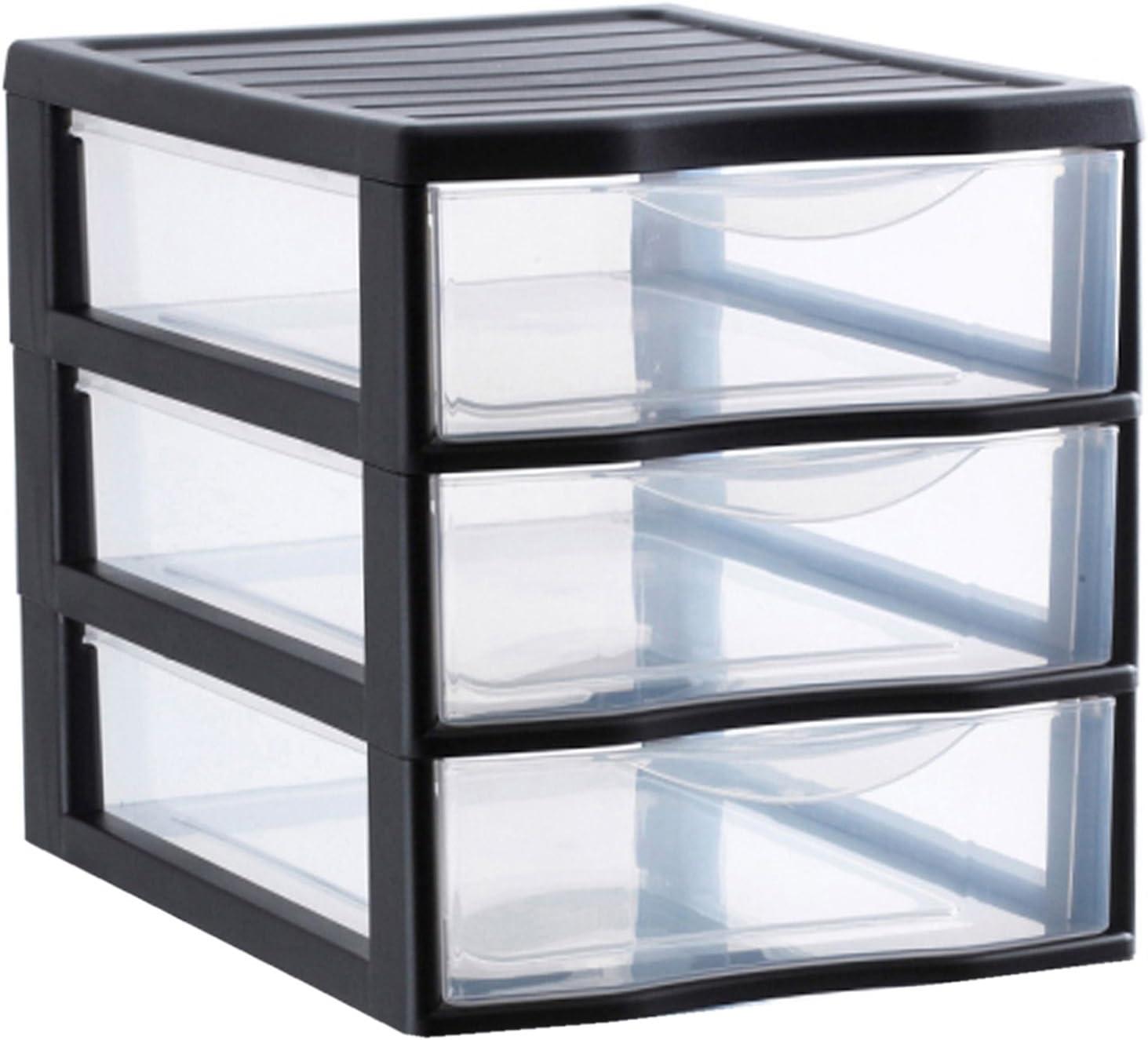 Sundis ORGAMIX A4 MM 3 tiroirs Noir Ordenación con 3 Cajón es, Transparente/Negro, 36.5x26x25.5 cm