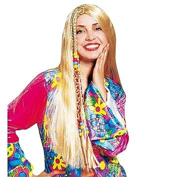 Peluca de pelo largo Rubio hippie Perú esquina 70er disfraz peluca de pelo largo de carnaval
