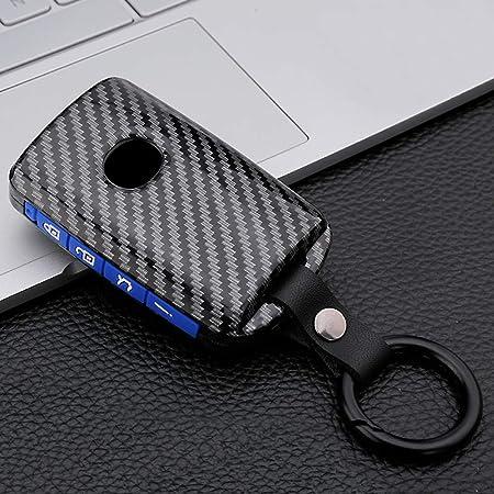 Ontto Autoschlüssel Hülle Cover Für Mazda 3 Alexa Cx 30 Cx 4 Cx 5 Cx 8 2019 2020 Schlüsselhülle Schlüsselanhänger Abs Und Silikon Schlüssel Schutz Etui Case 4 Tasten Kohlefaser Blau Auto