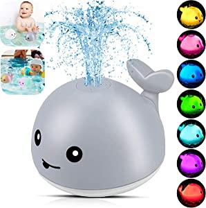 HWONMTE Baby Bath Toys,Whale Sprinkler Bath Toy with LED Light Automatic Spray Water Squirt Toy,Toddler Bath Toys for Toddlers 1-3,Gifts for Boys Girls(Gray)